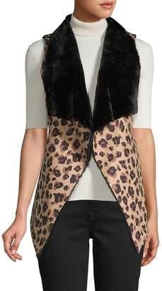 RENVY Reversible Faux Shearling and Faux Suede Leopard-Print Vest