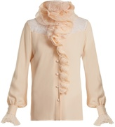 Lanvin Ruffle-trimmed lace-insert silk blouse