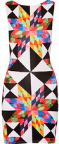 Mara Hoffman Cutout Printed Stretch-modal Jersey Mini Dress - Bright pink