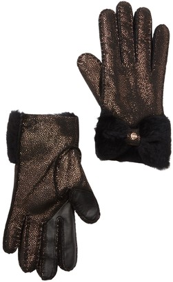 UGG Tech Sheepskin Leather Genuine Shearling Bow Trim Gloves