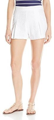 "XOXO Women's Lace Burnout Pleated Front Short Inseam: 2 1/2"""