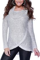Belldini Winter White & Platinum Cowl Neck Sweater