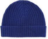 Neiman Marcus Ribbed Cuffed Beanie Hat, Lunar Navy