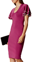 Karen Millen Soft Ruffle Knit Dress, Magenta