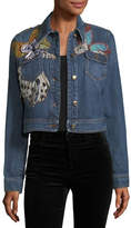 Roberto Cavalli Butterfly Applique Cropped Denim Jacket