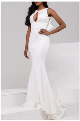 Jovani White Ruffle Gown