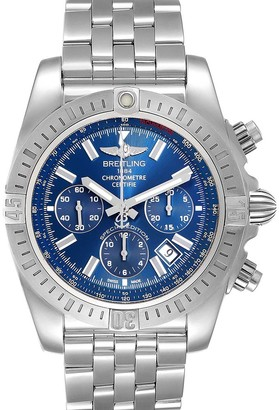 Breitling Blue Stainless Steel Chronomat Airbourne AB0115 Men's Wristwatch 44 MM