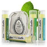 BeeNakedBalm Organic Lip Balm - Mint Lover's Variety 4 Pack - 100% Natural, 100% USA-Made, Gluten Free, Buttery Smooth Recipe - Peppermint, Spearmint & Eucalyptus Mint Flavors plus a FREE Cotton Pouch