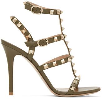 Valentino Green Garavani Rockstud Ankle Strap Sandals