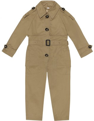 BURBERRY KIDS Cotton gabardine jumpsuit