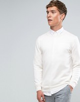 Asos Merino Wool Crew Neck Jumper In White