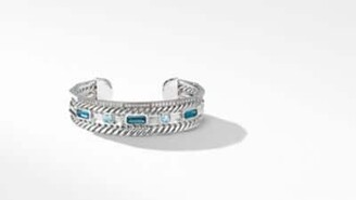 David Yurman Stax Narrow Cuff Bracelet With Hampton Blue Topaz And