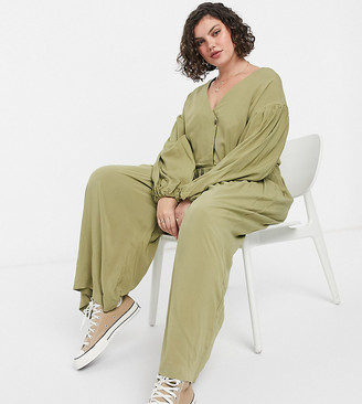 ASOS DESIGN curve wrap smock jumpsuit with button in khaki