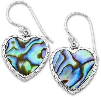 Samuel B. Sterling Silver Abalone Heart Drop Earrings