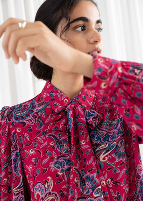 And other stories Paisley Pussy Bow Blouse