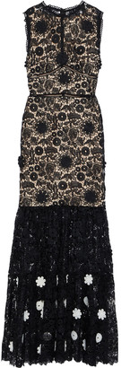 Monique Lhuillier Floral-appliqued Guipure Lace Gown