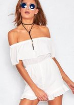 Missy Empire Sam White Off The Shoulder Ruffle Playsuit