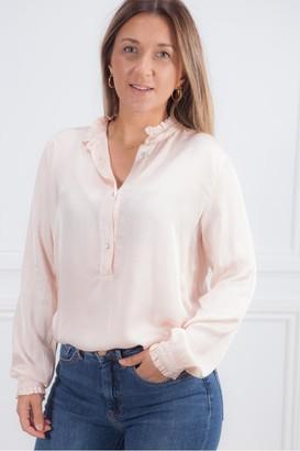 Crossley Pale Pink Bicor Frill Shirt - Xsmall