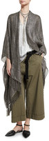 Brunello Cucinelli Metallic Fringe Shawl, Gray