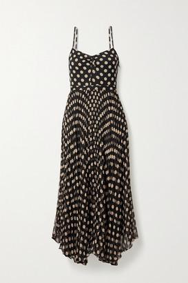 Laura Garcia - Georgiana Pleated Polka-dot Silk-chiffon Midi Dress - Black