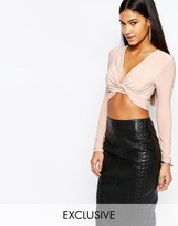 Club L Long Sleeve Wrap Front Knot Detail Top