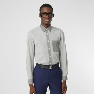 Burberry Classic Fit Contrast Stripe Cotton Shirt