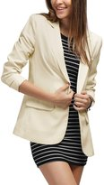 Allegra K Women's Peaked Lapel One Button Closure Boyfriend Blazer L