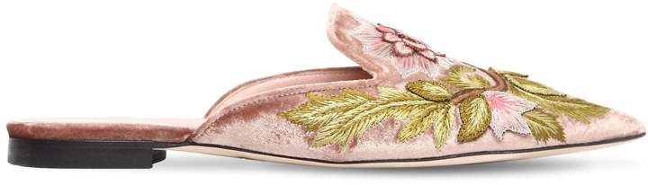 Alberta Ferretti 10mm Mia Embroidered Velvet Mules