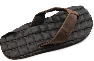 Volcom Men's Recliner Leather Sandal Brown Size: 5 UK