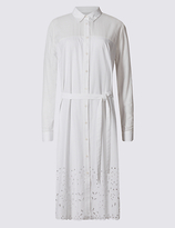 Twiggy Pure Cotton Cutwork Shirt Dress with Belt