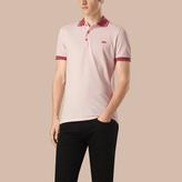 Burberry Contrast Trim Cotton Piqué Polo Shirt
