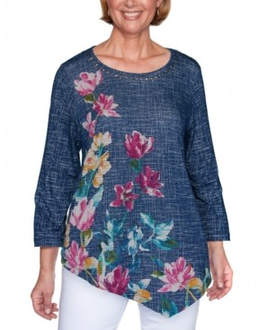 Alfred Dunner Petite Panama City Textured Asymmetric Floral Top