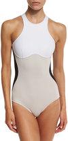 Stella McCartney Stella Iconic Colorblock One-Piece Swimsuit, Black/Stone/White