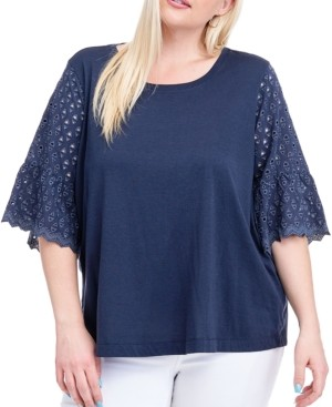 Fever Plus Size Eyelet-Sleeve Top