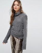 Free People Shoot From Heart Crochet Knit Sweater