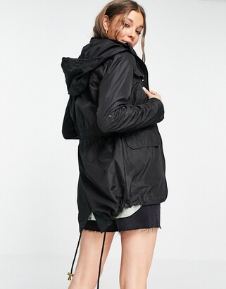 Brave Soul hooded mac with drawstring waist in black