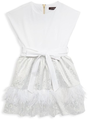Imoga Little Girl's & Girl's Feather Trim Dress