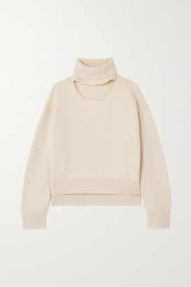 REJINA PYO Peyton Cutout Cashmere And Wool-blend Turtleneck Sweater - Ivory
