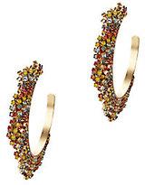 Elizabeth Cole Rainbow Crystal Fringe Hoop Earrings