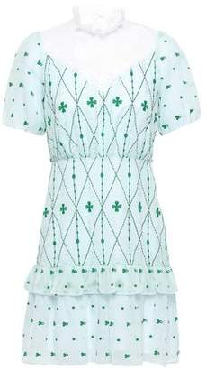 Sandro Lace-paneled Embroidered Seersucker Mini Dress