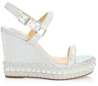 Christian Louboutin Pyraclou Metallic Croc-Embossed Leather Wedge Slingback Sandals
