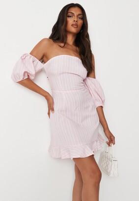 Missguided Blush Stripe Tie Back Ruffle Hem Dress