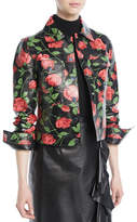 Michael Kors Stemmed Rose-Print Plonge Lamb Leather Jacket