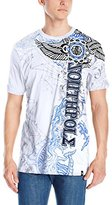 Southpole Men's Hd and Screen Print Graphic T-Shirt with Asymmetric Logo In and Wings