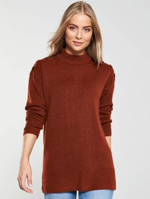 Very Button Shoulder Longline Jumper - Burnt Orange/Berry