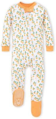 Burt's Bees Freshly Picked Oranges Organic Baby Zip Front Snug Fit Footed Pajamas