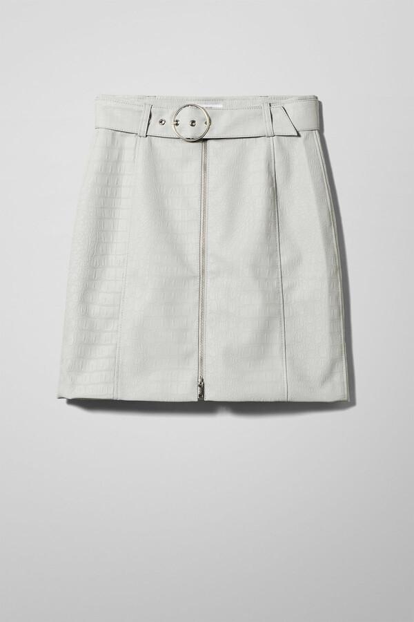 Weekday Zina Belted Skirt - Grey