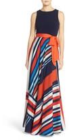 Eliza J Petite Women's Jersey & Stripe Maxi Dress