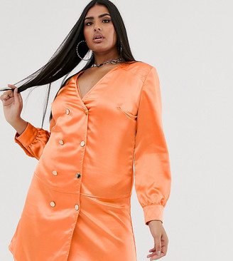 Club L London Plus double breasted satin shirt dress