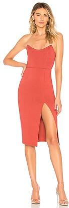 superdown Zarah Strapless High Slit Midi Dress